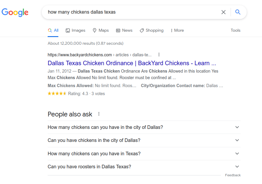 How to find info on number of chickens you can have